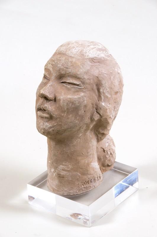 Volto di donna Maria Rosaria 1996 - terracotta naturale-cm 33x16x20